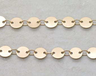 18k LIGHT GOLD Plated Brass Round Disc Chain Brass Necklace Chain 6mm Thick Chain Circle Charm Gold Thin Brass Chain Jewelry Making (EA179)