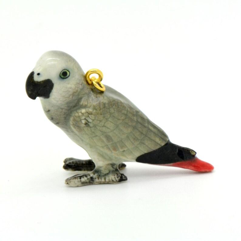 African Gray Bird Figurine