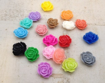30 Pcs Multi Colored Small Flower Cabochons Flowers Mini  Roses 10mm(MO21)