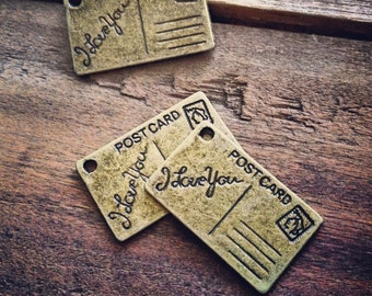 4 - Postcard Charms Card Letter Mail Antique Bronze, Travel, Vintage Jewelry Supplies  (BD144)