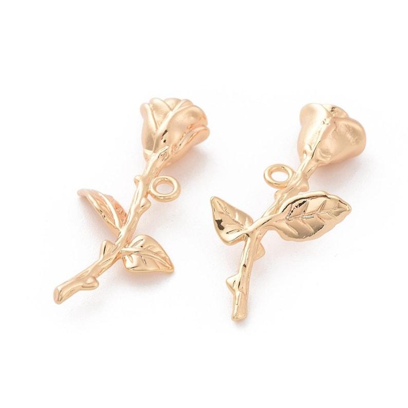 AS125 2-Natural Golden Rose Flower Charm \u2022 real 18k Gold Dipped Brass \u2022 Tiny Minimal Shape \u2022 Jewelry Making Supplies \u2022 Simple Charm