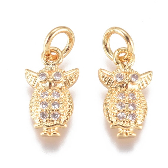 1- Zirconia Golden Owl Charm • Brass Micro Pave Cubic Zirconia • Jewelry Making Supplies w/ Jump Ring •  Animal Charms • Golden Owl G024
