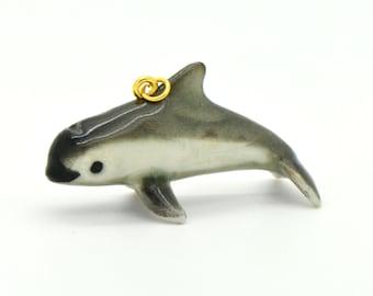 1 - Porcelain Vaquita Pendant Hand Painted Glaze Ceramic Animal Small Ceramic Dolphin Vaquita Bead Jewelry Supplies (CA217)