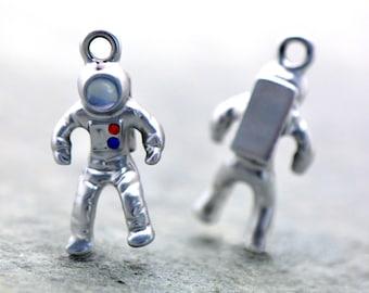 Enamel Astronaut Hand Painted Charm - Colored Rhinestones - Silver NASA Pendant - Vintage Jewelry Supplies (AS103)