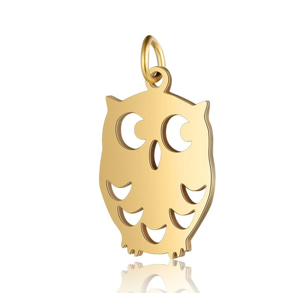 1 - Golden OWL Charm - Shiny Gold Plated Brass • Stainless Steel • Layered Charm Minimal Jewelry Pendant • Geometrical Shape Charms (AS234)