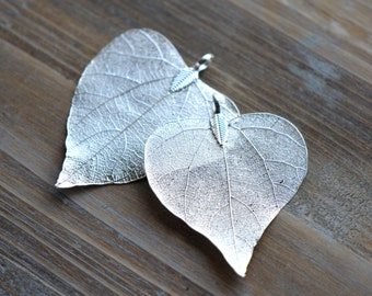 1 - REAL Nature Heart Leaf Pendant dipped in Sterling Silver Plated REAL Filigree Leaf Charm Vintage Style Pendant  Jewelry Supplies (DA177)
