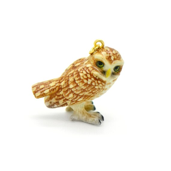 Porcelain Burrowing Owl Pendant • Hand Painted • Hand Made • Gift For Her • Animal lover • Kids Gift • Cute Miniature Ceramic (CA222)