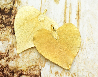 1 - REAL Nature Heart Leaf Pendant dipped in 24k GOLD Plated REAL Filigree Leaf Charm Vintage Style Pendant Jewelry Supplies (DA176)