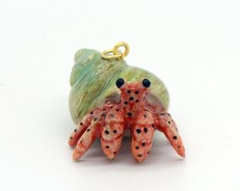 1 - Porcelain Hermit Crab Pendant Hand Painted Glaze Ceramic Animal Small Ceramic Crab Bead Jewelry Supplies Little Critterz (CA114)