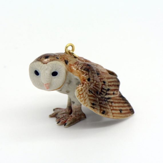 Porcelain Barn Owl Pendant • Hand Painted • Hand Made • Gift For Her • Animal lover • Kids Gift • Cute Miniature Ceramic Figurine (CA020)