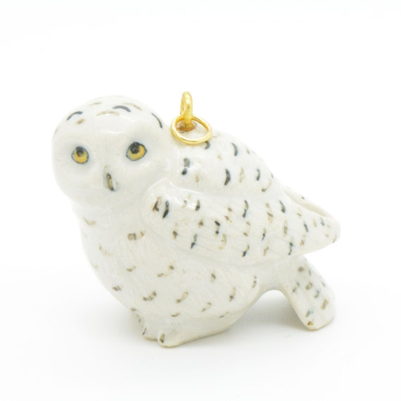 Porcelain Snowy Owl Pendant • Hand Painted • Hand Made • Gift For Her • Animal lover • Kids Gift • Cute Miniature Figurine Charm (CA074)