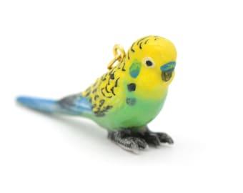 1 - Porcelain Green Parakeet Pendant Hand Painted Glaze Ceramic Animal Small Ceramic Budgie Bird Bead Jewelry Supplies (CA221)