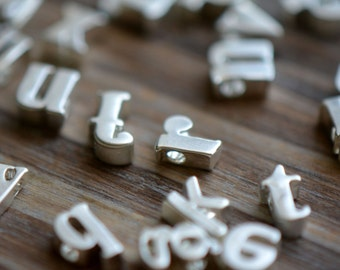 1 Pc Sterling Matte Silver or Gold Plated Metal LOWERCASE Alphabet Charm Beads Tiny Delicate Pretty Monogram initial letter (AU154-AU179)