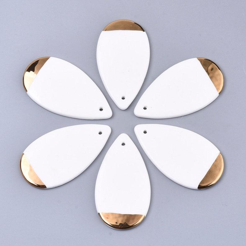 1-Handmade Porcelain Teardrop Pendant \u2022 Ornamental with Gold \u2022 Jewelry Making Supplies  \u2022 White Teardrop Pendant AQ067