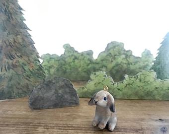 1-Porcelain Lop Ear Bunny Charm •Rabbit Pendant •Hand Painted Porcelain Charm •Glass Bunny Charm •Vintage Style Jewelry Supplies  (CA074)