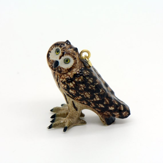 Porcelain Short-eared Owl Pendant • Hand Painted • Hand Made • Gift For Her • Animal lover • Kids Gift • Cute Miniature Ceramic (CA260)
