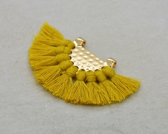 Mustard Yellow Fan Tassel 24k Gold Plated Brass Cotton Fan Tassel Pendant Link Charm Yellow Fan Tassel Earring Jewelry Making Supplies