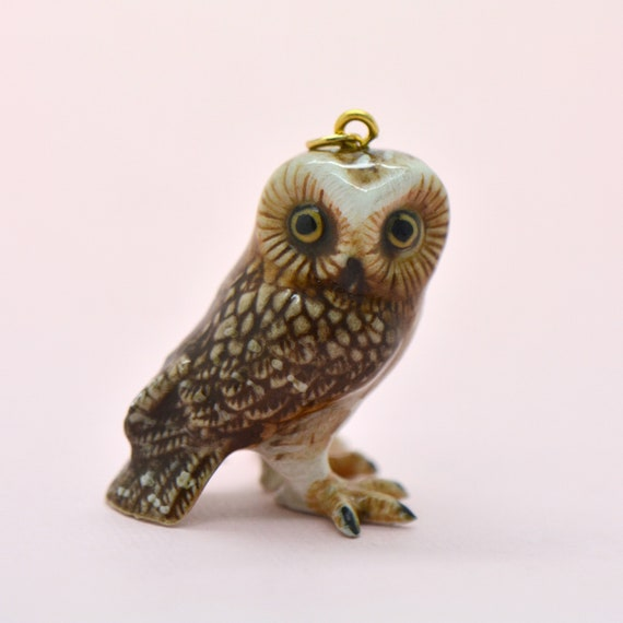 Porcelain Brown Owl Pendant • Hand Painted • Hand Made • Gift For Her • Animal lover • Kids Gift • Cute Miniature Ceramic Figurine (CA064)