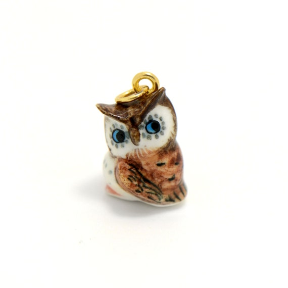 Tiny Porcelain Brown Owl Pendant • Hand Painted • Hand Made • Gift For Her • Animal lover • Kids Gift • Cute Miniature Figurine Charm