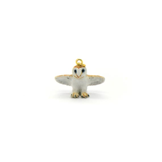 Tiny Porcelain Barn Owl Pendant • Hand Painted • Hand Made • Gift For Her • Animal lover • Kids Gift • Cute Miniature Figurine Animal Charm
