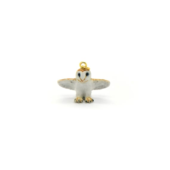 Tiny Barn Owl Charm Pendant Hand Painted Porcelain Charm Glass Owl with Wings Open White Owl Vintage Style Jewelry Supplies ()