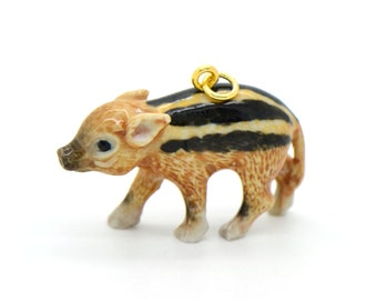 1 - Porcelain Red River Piglet Pendant Hand Painted Glaze Ceramic Animal Small Ceramic Pig Bead Jewelry Supplies (CA218)
