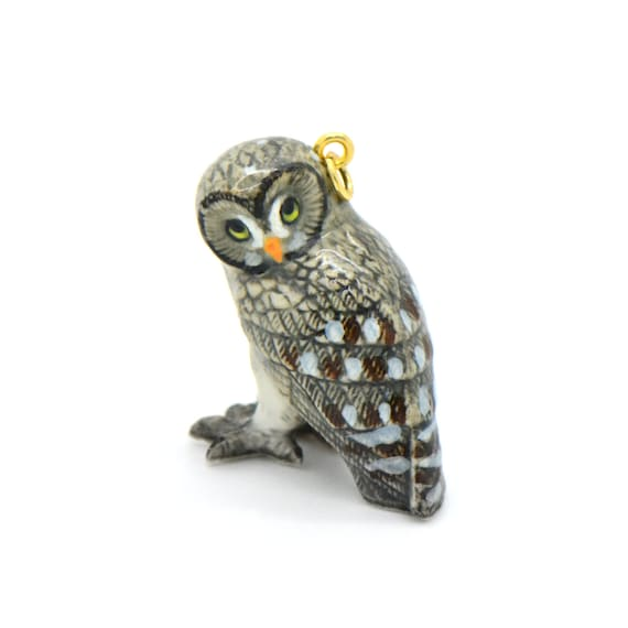 Porcelain Great Gray Owl Pendant • Hand Painted • Hand Made • Gift For Her • Animal lover • Kids Gift • Cute Miniature Ceramic Bird (CA223)