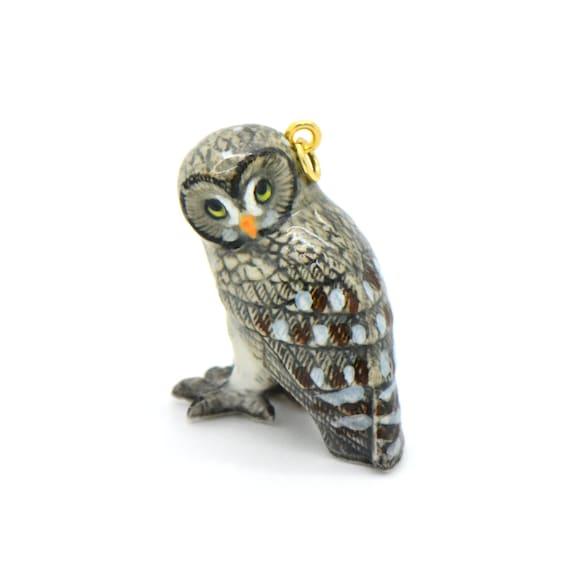 1 - Porcelain Great Gray Owl Pendant Hand Painted Glaze Ceramic Animal Small Ceramic Owl Bird Bead Jewelry Supplies (CA223)