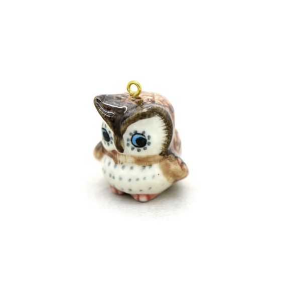 Porcelain Brown Owl Pendant • Hand Painted • Hand Made • Gift For Her • Animal lover • Kids Gift • Cute Miniature Figurine Charm (D002)