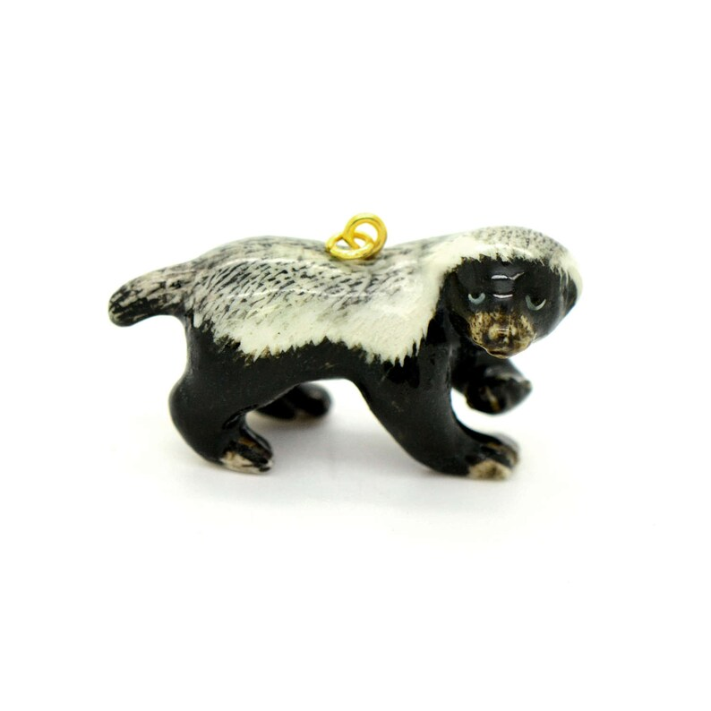 Porcelain Honey Badger Pendant  Hand Painted  Hand Made  image 0