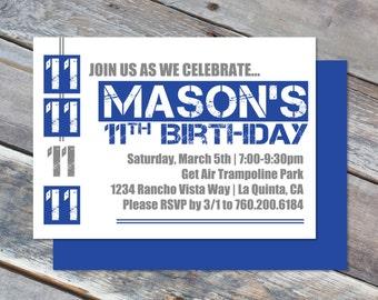 Boy Birthday Invitation- 4x6 or 5x7 - Skate - 8th 9th 10th 11th 12th 13th Birthday - Digital Printable File - Cardstock
