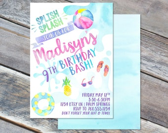 Pool Party Birthday Invitation- 5x7 - Watercolor - Modern - Splish Splash - Girls - Printable File - Cardstock