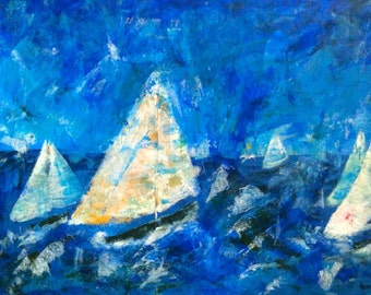 Ocean Abstract Painting Yachts