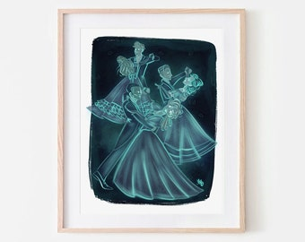 The Waltzing Dead Ghostly Haunted Mansion Illustration Print