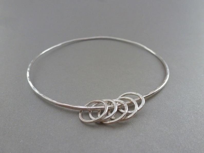 Solid Sterling Silver 925 Eternity Infinity Forever Circle Ring Friendship Bracelet Handmade Silver Karma Bangle