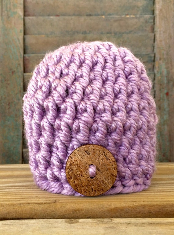 7254ffcc4e5 Purple crochet baby hat with coconut button baby hat photo