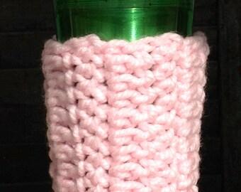 Pink,  soft, crochet mug hug, thermal sleeve, mug jacket