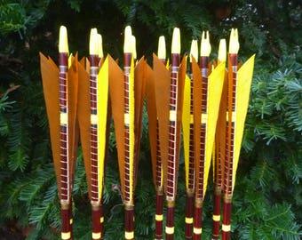 Copper archery arrow set / 50-55lb spine weight / Dozen (12 arrow) set / Traditional wood archery arrows