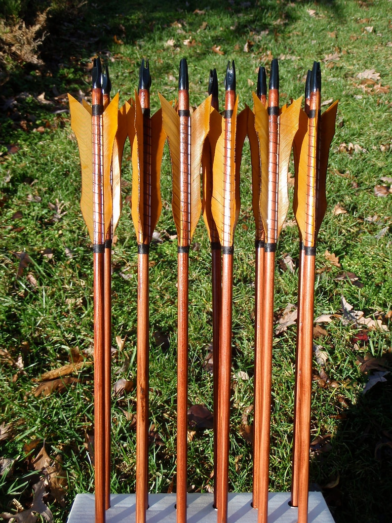 Custom New Age Arrows, Made To Order arrow set in your draw weight and  length, dozen arrows, traditional wood archery arrows