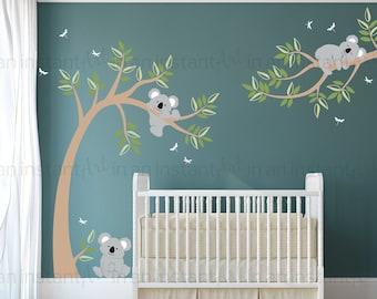 Koala Wall Decal   Koala Bears in Tree with Dragonflies   Custom Baby Nursery and Children's Room Interior Design    Easy Application 058