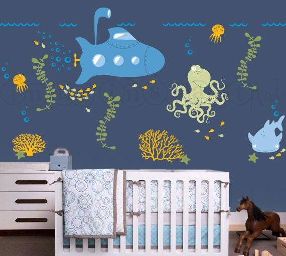 Nursery Décor For The Grown Ups: Items Similar To Submarine Wall Decal With Ocean Animals