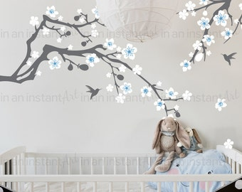 Branch Wall Decal - Cherry Blossom | Hummingbirds and Cherry Blossoms Wall Stickers | Baby Nursery and Kid's Room Home Decor 125