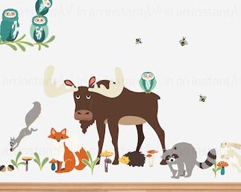 Woodland Animals Wall Decal | Peel and Stick Print | Animal Sticker Set | Large Woodland Kids or Nursery Wall Art  | Fabric Sticker P1008