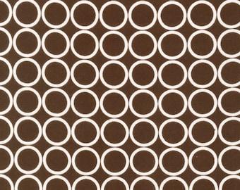 CLEARANCE - Robert Kaufman Fabrics - Metro Living - Cream Circles on Espresso  - By The Yard