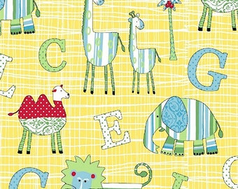 CLEARANCE - Two by Two Collection - Animal Alphabet - Yellow - Whistler Studios for Windham Fabrics