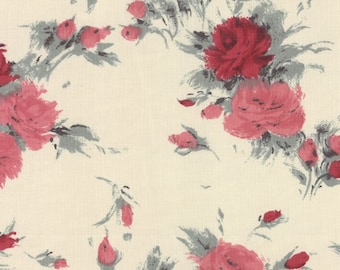SALE - Moda Fabrics - Padstow Range - Cabbages and Roses - Red and Pink on Ivory - By the Yard