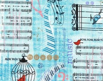 NEW - Timeless Treasures - Row By Row - Watercolor Lyrics - Aqua - Novelty Fabric - Choose Your Cut 1/2 or Full Yard