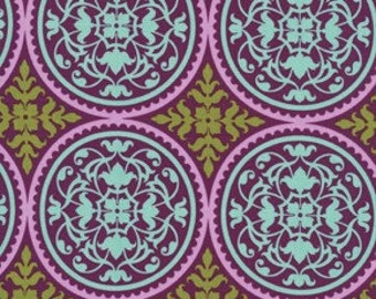 """28"""" End of Bolt Remnant - Joel Dewberry Fabric - Aviary II Collection - Scrollwork- Plum/Purple - Out of Print"""