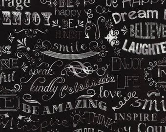 Timeless Treasures - Chalkboard Happy Words - Black - Novelty Fabric - Choose Your Cut 1/2 or Full Yard