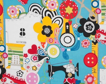 NEW - Alexander Henry Fabric - Sew Now Sew Wow - Turquoise Brite - Novelty Fabric - Choose Your Cut 1/2 or Full Yard